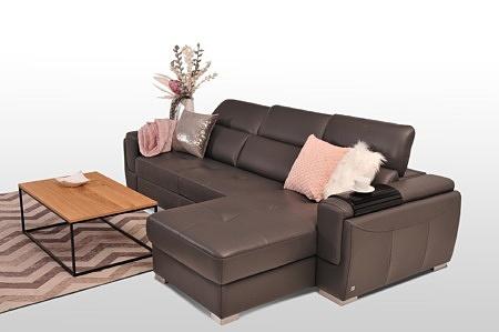 Designerski narożnik skórzany brązowy nowoczesne urządzenie mieszkania funkcja spania