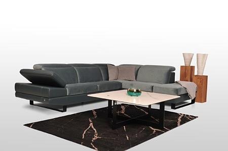 Duży okazały narożnik sofa pufa fotel skóra materiał aqua clean wysokiej jakości tcmeble