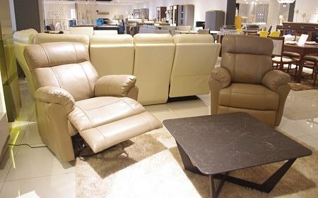 Skórzane beżowe fotele z relaxem model relax 3