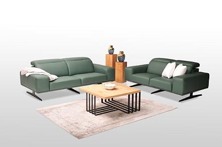 Nowoczesny komplet wypoczynkowy 2+2 - w skład zestawu wchodzą dwie sofy 2-osobowe, skóra naturalna zielona butelkowa zieleń