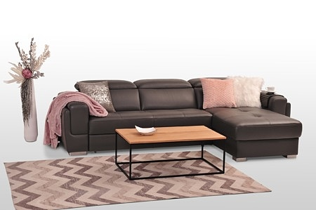 Elegancki narożnik skórzany do salonu nowoczesny bardzo ładny brązowy z pikowanymi siedziskami