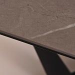 ława b18 z blatem ze spieku kwarcowego naklejany na szkle pietra grey połysk czarna noga stalowa