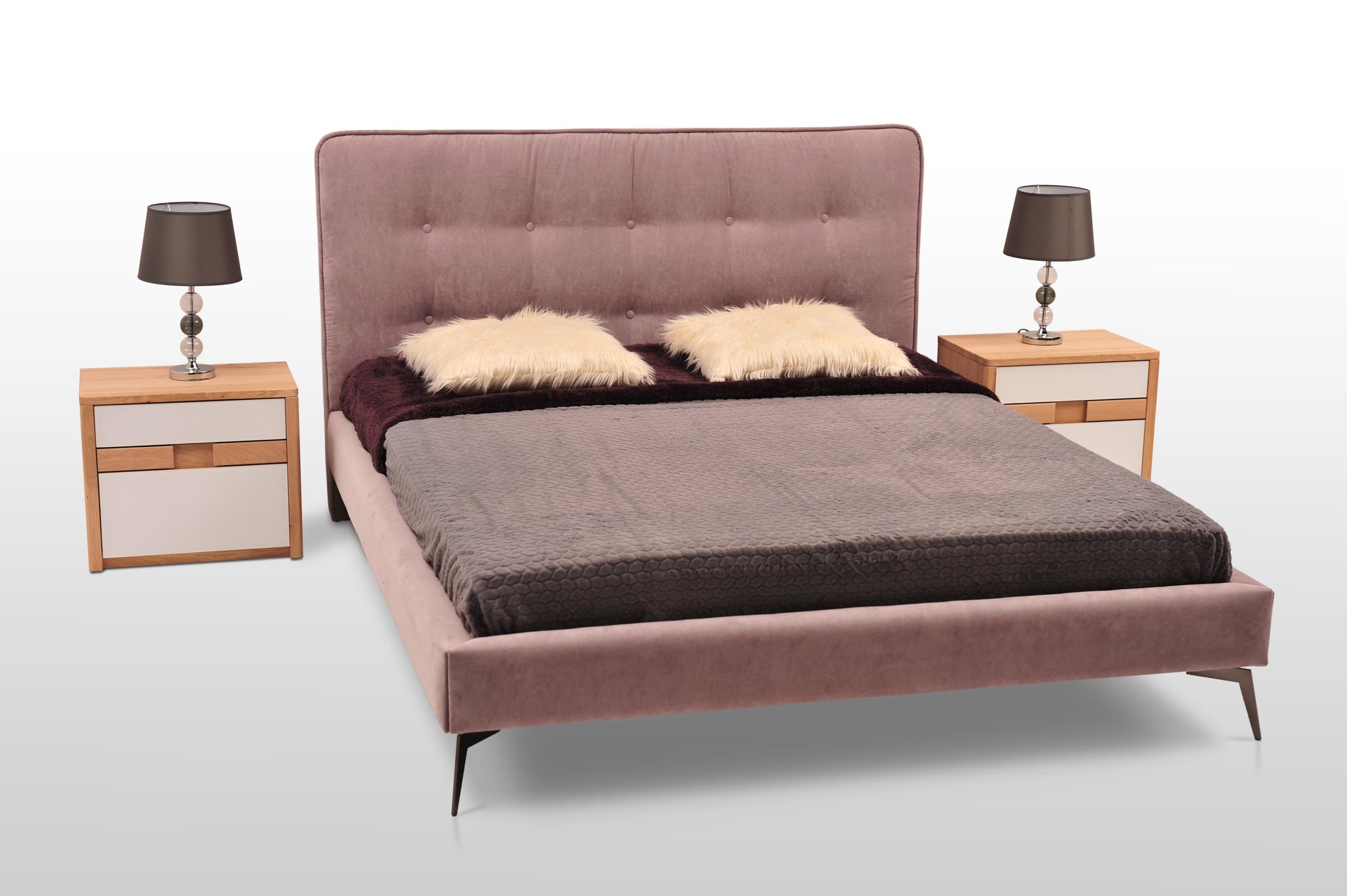łóżko malibu na wysokich nogach nowoczesne z materiału