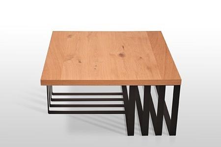 Orginalny stolik kawowy b14 b12 nowoczesna forma sękaty dąb szczotka metalowe nogi industrialny styl loftowy