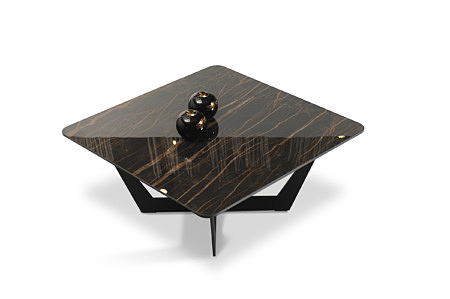 Piękna stabilna ława stolik kawowy czarny z brązowymi żyłami i zaokrąglonymi krawędziami