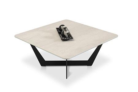 Stolik do nowoczesnego jasnego wnętrza ze spiekiem kwarcowym nowość laminam włoski szary