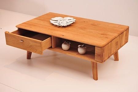 Stolik kawowy dallas z szufladą i schowkiem na drewnianych nóżkach lite drewno dębowe