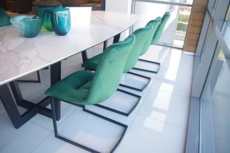 Zielony aksamit tkanina krzesło nowoczesne