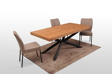 A8 stół do nowoczesnego wnętrza loftowy styl minimalistyczny wystrój blat drewniana okleina
