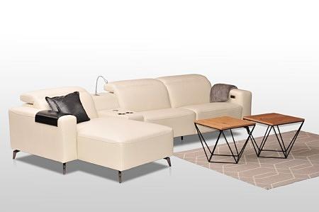 Belaggio nowość narożnik z funkcją relaks, na wysokich nogach, klasa mebli premium, eleganckie nowoczesne wykonanie i wzornictwo
