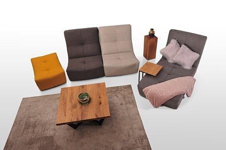 Kolorowa sofa zolto szara