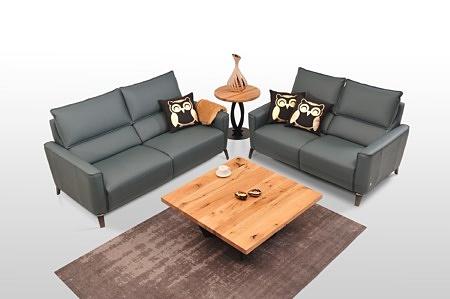 Aviva II - komplet wypoczynkowy 2+2, dwie sofy skórzane 2-osobowe z grubej włoskiej skóry, kolor ocean nowoczesny styl i najwyższa jakość