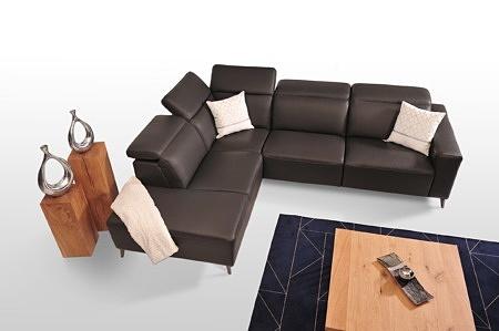 Narożnik do salonu z podnoszonymi zagłówkami, wygodne miękkie siedziska, skórzany, najwyższej jakości skóra włoska