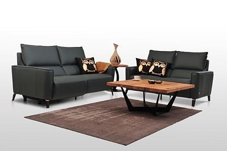 Aviva II - sofy skórzane nowoczesne, czarna skóra naturalna, na metalowych nóżkach, zestaw wypoczynkowy 2+2, aranżacja wnętrza salonu