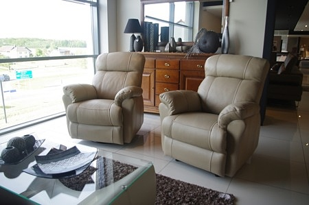 Relax 3 fotele z funkcją relaxu beżowa skóra