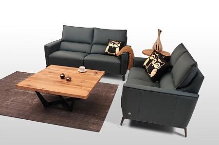 Aviva II - nowoczesne sofy skórzane, czarna skóra naturalna, z oparciem w formie poduszki, sofy modułowe z oddzielnymi siedziskami