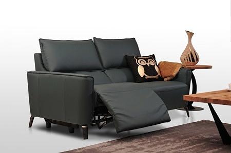 Sofa skórzana 2-osobowa z funkcją relaks, ciemna skóra naturalna, poduszka ze wzorem sowy, elegancki złoty wazon matowy + połysk