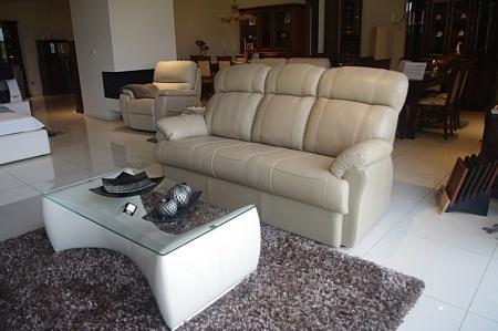 Sofa relax 3 tc meble beżowa skóra opolskie