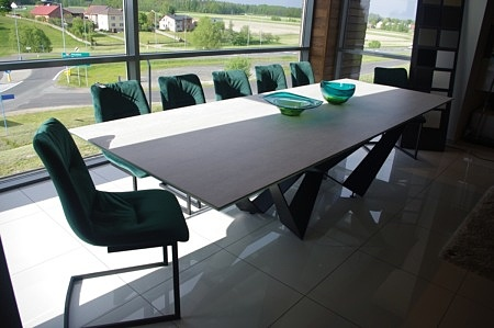Stół ze spieku duży solidny laminam pietra perła