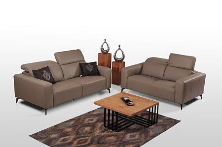 Komplet wypoczynkowy z dwiema sofami - Wersalka z zagłówkami skórzana, sofy skórzane ciemno beżowe