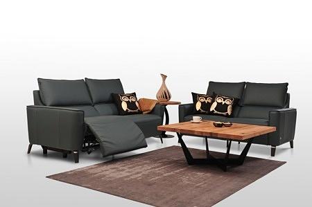 Aviva II - czarny zestaw wypoczynkowy ze skóry naturalnej, z funkcją relaks elektryczny, nóżki kolo antracyt