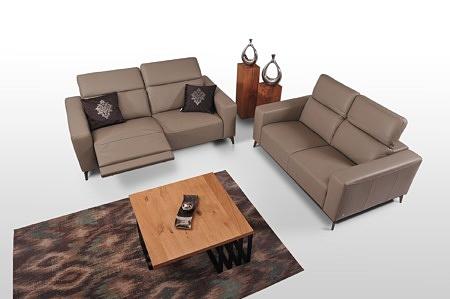 Zestaw mebli wypoczynkowych klasy premium - dwie ciemno beżowe sofy bellagio do salonu w stylu loftowym