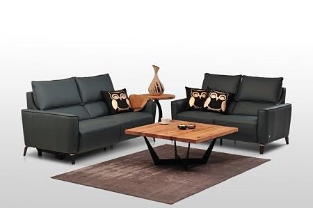 Aviva II - zestaw wypoczynkowy skórzany 2+2, eleganckie czarne sofy skórzane, poduszki na oparciach, meble wypoczynkowe klasy premium
