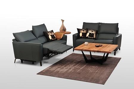 Aviva II - zestaw wypoczynkowy 2+2, dwie sofy z funkcją relaks, czarny skórzany komplet skóra gruba włoska