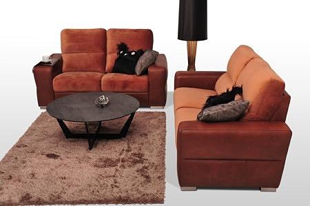 Skórzane sofy dwuosobowe z funkcją spania - tapicerka skóra + tkanina połączenie kolorów, różne kolory do wyboru