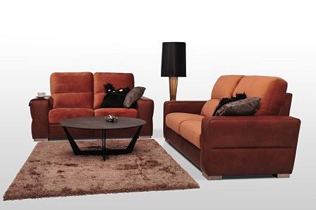 Sofy Livio - komplet wypoczynkowy do spania codziennego, kolor korpusu brązowy, oparcie i siedzisko pomarańczowe - różne kolory do wyboru