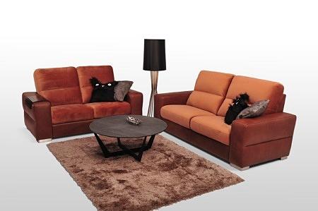 Komplet wypoczynkowy klasy premium - sofy Livio do salonu tkanina łączona ze skórą, boki skórzane brązowe, oparcie i siedzisko pomarańczowe