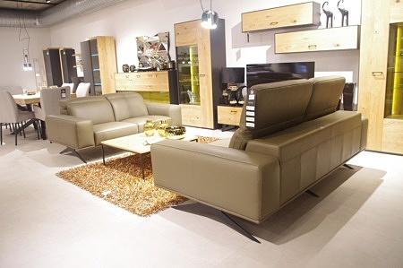 Bolero - szary elegancki zestaw wypoczynkowy 2+2 na nogach czarnych, sofy ze skóry klasy premium