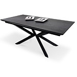 Czarny stół nowoczesny styl w kształcie prostokąta na metalowej nodze