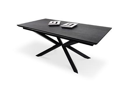 Czarny stół nowoczesny styl w kształcie prostokąta na metalowej nodze loftowy styl