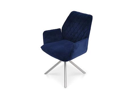 Fotel z pikowanym oparciem w kratkę nowoczesny design na nodze ze stali nierdzewnej