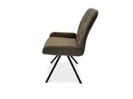 Krzesełko na metalowej nodze malowanej na czarno