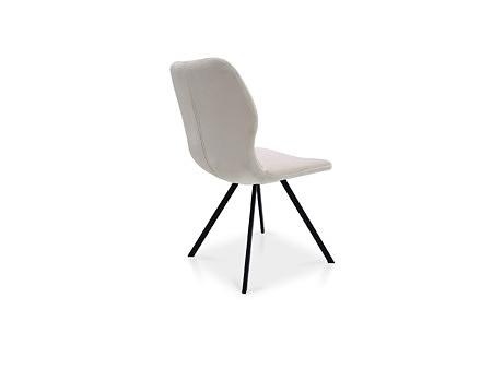 Krzesełko w białym materiale obiciowym elegancki styl