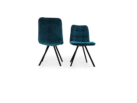Krzesło koloru niebieskiego w pięknej tkaninie aksamitnej