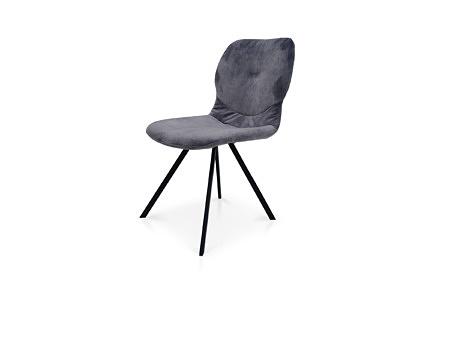 Krzesło koloru szarego w aksamitnej tkaninie odpornej na plamy