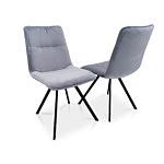 Krzesło na 4 czarnych nóżkach w szarej tkaninie aquaclean
