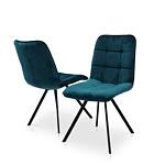 Krzesło na czarnej nodze w niebieskiej tkaninie nowoczesny dom 01 loftowe krzesełka