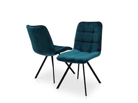 Krzesło na czarnej nodze w niebieskiej tkaninie nowoczesny dom 01