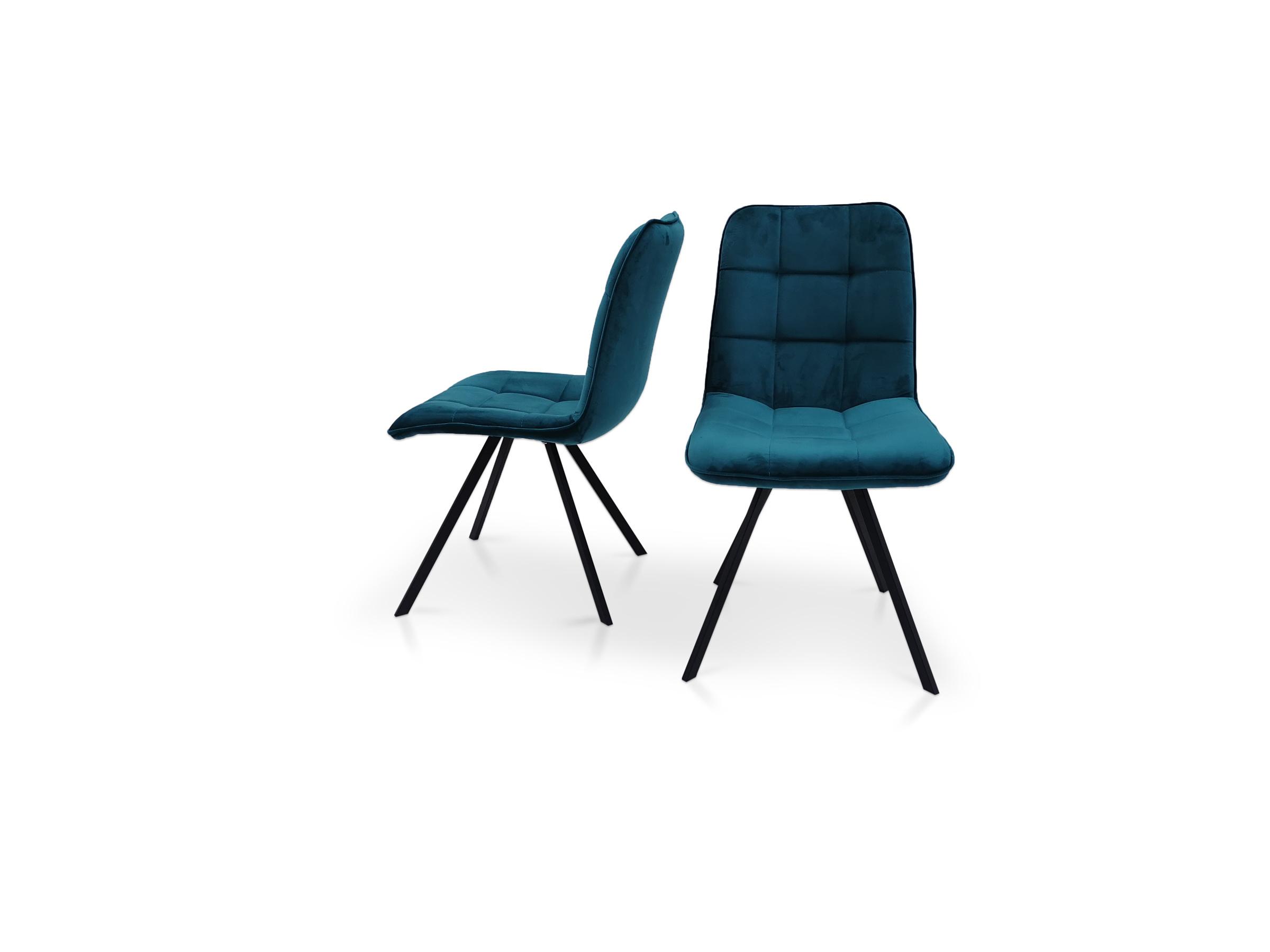 Krzesło na metalowej czarnej nodze piękny kształt z przeszyciami na siedzisku i oparciu