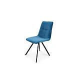 Krzesło niebieskiego koloru z tkaniny aksamitnej
