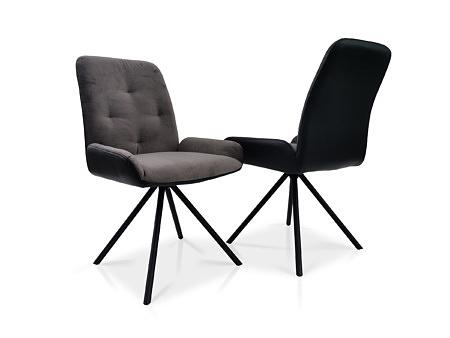 Krzesło tapicerowane z 4 pikowaniami w kolorze szarym