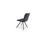 Krzesło w szarym kolorze na metalwoej nodze czarnej malowany proszkowo