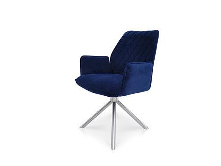 Krzesło z podłokietnikami na metalowej nodze ze stali nierdzewnej