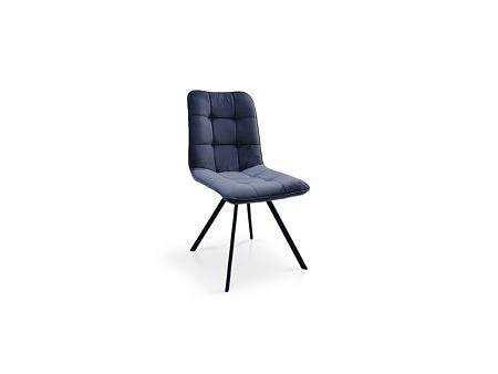 Krzesło z przeszyciami w tkaninie szarek na metalowej nodze