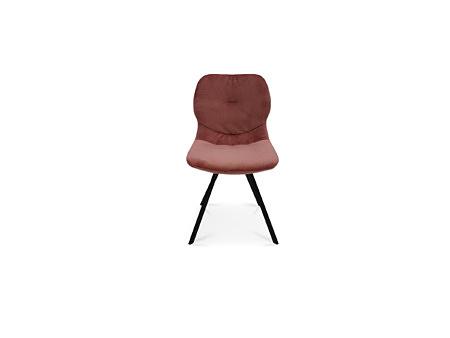 Krzesło z przeszyciem na plecach w różowej tkaninie na metal nodze