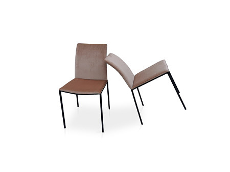 Krzesło z tkaniny chloe jasny beż tkanina z pikowaniem